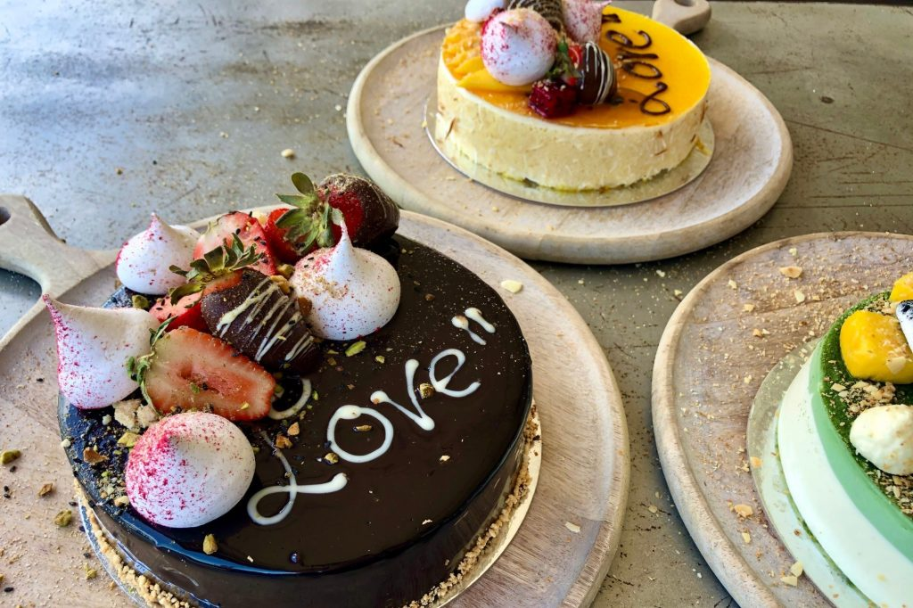 Shangri-La Hotel, The Marina, Cairns executive chef Aaron Habgood's collection of Valentine's Day cakes.